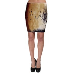 Birds Sky Planet Moon Shadow Bodycon Skirt