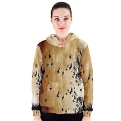 Birds Sky Planet Moon Shadow Women s Zipper Hoodie