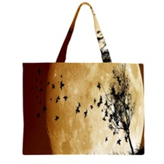 Birds Sky Planet Moon Shadow Large Tote Bag