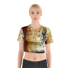 Birds Sky Planet Moon Shadow Cotton Crop Top