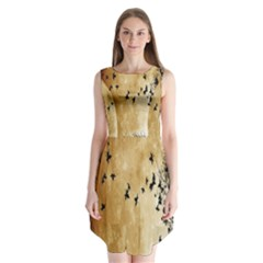 Birds Sky Planet Moon Shadow Sleeveless Chiffon Dress