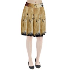 Birds Sky Planet Moon Shadow Pleated Skirt