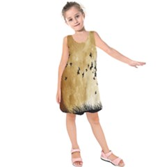 Birds Sky Planet Moon Shadow Kids  Sleeveless Dress