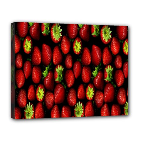 Berry Strawberry Many Canvas 14  x 11