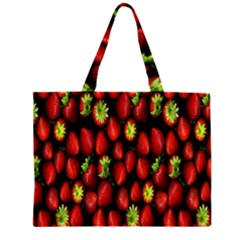 Berry Strawberry Many Zipper Large Tote Bag
