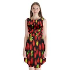 Berry Strawberry Many Sleeveless Chiffon Dress