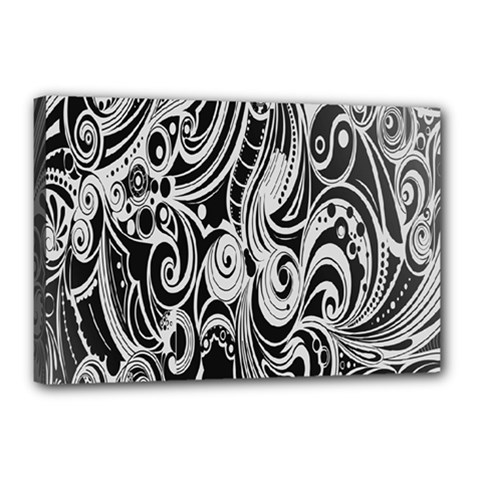 Black White Pattern Shape Patterns Canvas 18  x 12