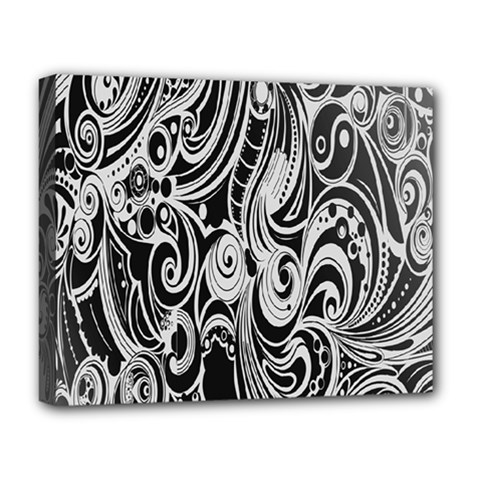 Black White Pattern Shape Patterns Deluxe Canvas 20  x 16