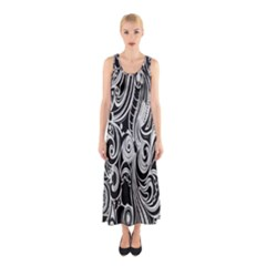 Black White Pattern Shape Patterns Sleeveless Maxi Dress