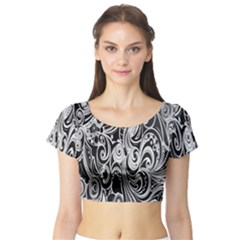 Black White Pattern Shape Patterns Short Sleeve Crop Top (Tight Fit)