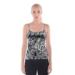 Black White Pattern Shape Patterns Spaghetti Strap Top