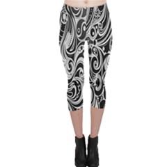 Black White Pattern Shape Patterns Capri Leggings