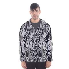 Black White Pattern Shape Patterns Hooded Wind Breaker (Men)