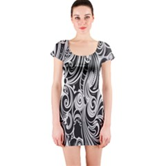 Black White Pattern Shape Patterns Short Sleeve Bodycon Dress