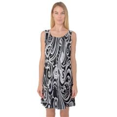 Black White Pattern Shape Patterns Sleeveless Satin Nightdress