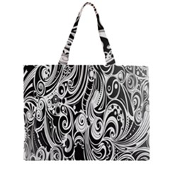 Black White Pattern Shape Patterns Zipper Large Tote Bag