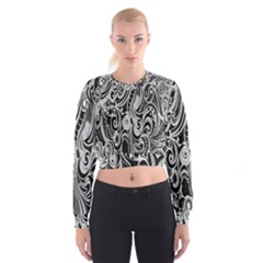 Black White Pattern Shape Patterns Women s Cropped Sweatshirt