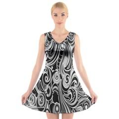 Black White Pattern Shape Patterns V Neck Sleeveless Skater Dress