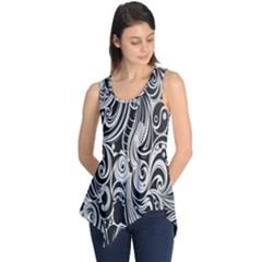 Black White Pattern Shape Patterns Sleeveless Tunic