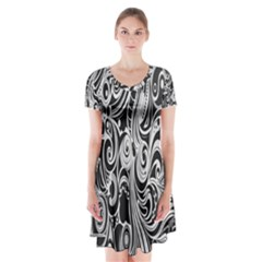 Black White Pattern Shape Patterns Short Sleeve V-neck Flare Dress