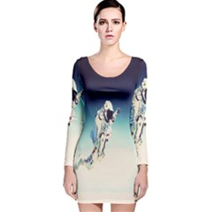 astronaut Long Sleeve Velvet Bodycon Dress