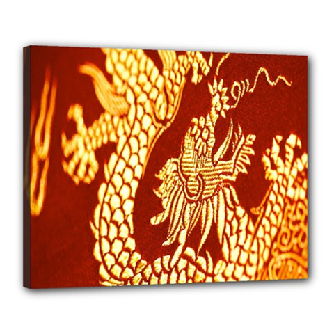 Fabric Pattern Dragon Embroidery Texture Canvas 20  X 16