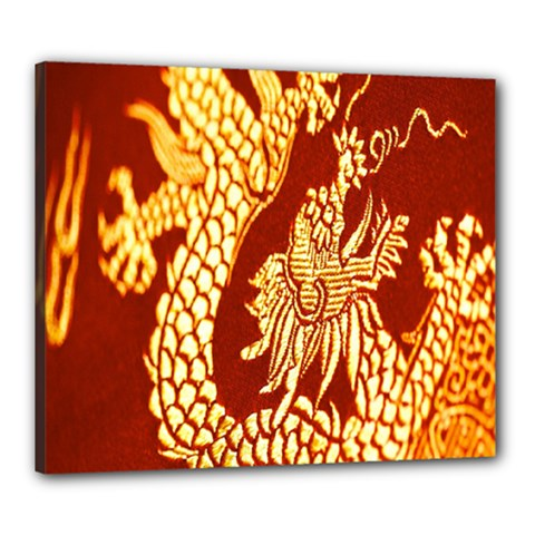 Fabric Pattern Dragon Embroidery Texture Canvas 24  x 20