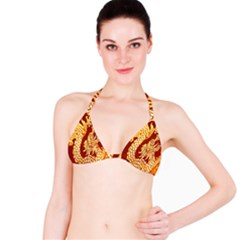 Fabric Pattern Dragon Embroidery Texture Bikini Top