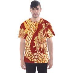 Fabric Pattern Dragon Embroidery Texture Men s Sport Mesh Tee