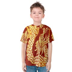 Fabric Pattern Dragon Embroidery Texture Kids  Cotton Tee