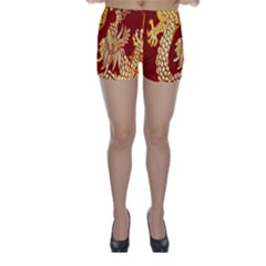 Fabric Pattern Dragon Embroidery Texture Skinny Shorts