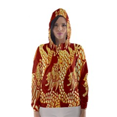 Fabric Pattern Dragon Embroidery Texture Hooded Wind Breaker (Women)