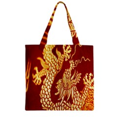 Fabric Pattern Dragon Embroidery Texture Zipper Grocery Tote Bag