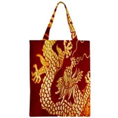 Fabric Pattern Dragon Embroidery Texture Zipper Classic Tote Bag