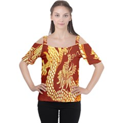 Fabric Pattern Dragon Embroidery Texture Women s Cutout Shoulder Tee