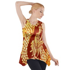 Fabric Pattern Dragon Embroidery Texture Side Drop Tank Tunic
