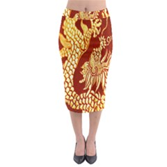 Fabric Pattern Dragon Embroidery Texture Midi Pencil Skirt
