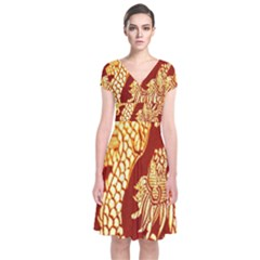 Fabric Pattern Dragon Embroidery Texture Short Sleeve Front Wrap Dress