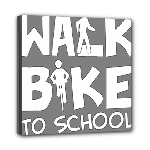 Bicycle Walk Bike School Sign Grey Mini Canvas 8  X 8