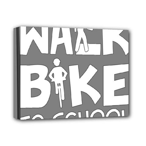 Bicycle Walk Bike School Sign Grey Deluxe Canvas 14  x 11