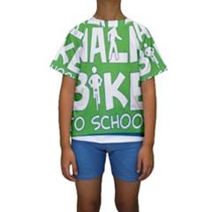 Bicycle Walk Bike School Sign Green Blue Kids  Short Sleeve Swimwear