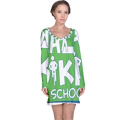 Bicycle Walk Bike School Sign Green Blue Long Sleeve Nightdress