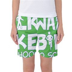 Bicycle Walk Bike School Sign Green Blue Women s Basketball Shorts