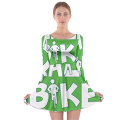 Bicycle Walk Bike School Sign Green Blue Long Sleeve Skater Dress