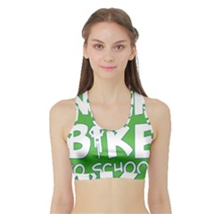 Bicycle Walk Bike School Sign Green Blue Sports Bra with Border