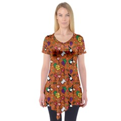 Wine Cheede Fruit Purple Yellow Orange Short Sleeve Tunic