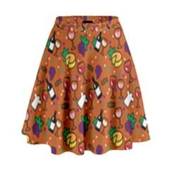 Wine Cheede Fruit Purple Yellow Orange High Waist Skirt