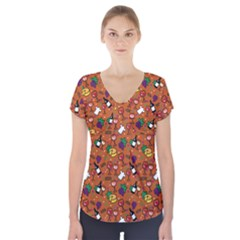 Wine Cheede Fruit Purple Yellow Orange Short Sleeve Front Detail Top