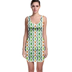 Chevron Wave Green Orange Sleeveless Bodycon Dress
