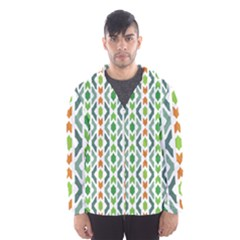 Chevron Wave Green Orange Hooded Wind Breaker (men)